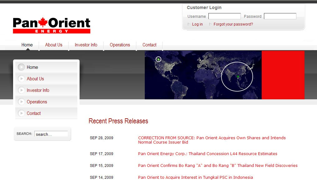 panorient energy homepage design