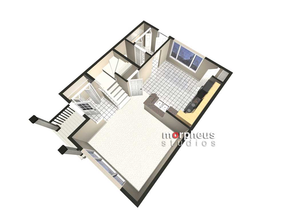 birds eye view of an architectural illustration