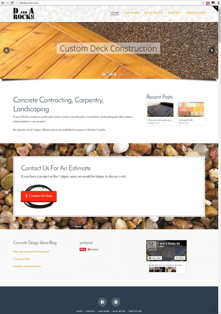 Construction website for Calgary concrete contractor